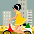 Girl on a bike. — Stock Vector