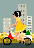 Girl on a bike. — Stockvektor