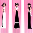Three pink lady. - Stock Vector