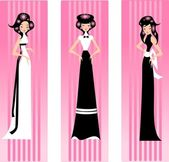 Three pink lady. — Stock Vector