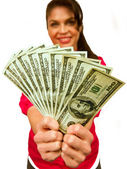Attractive female model holds $100's — Stock Photo