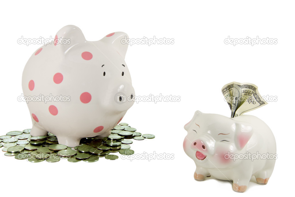 Piggy bank on coins stares at another piggy bank holding a 100 dollar bill. — Stock Photo #5043063