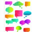 Stock Vector: Hand drawn colorful speech bubbles