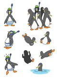 15 funny penguins in different situations — Stock Vector