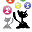 Stock Vector: A black cat silhouette collection