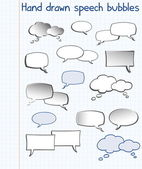 Hand drawn speech bubbles — Stock Vector