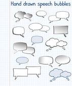 Hand drawn speech bubbles — Stock Vector