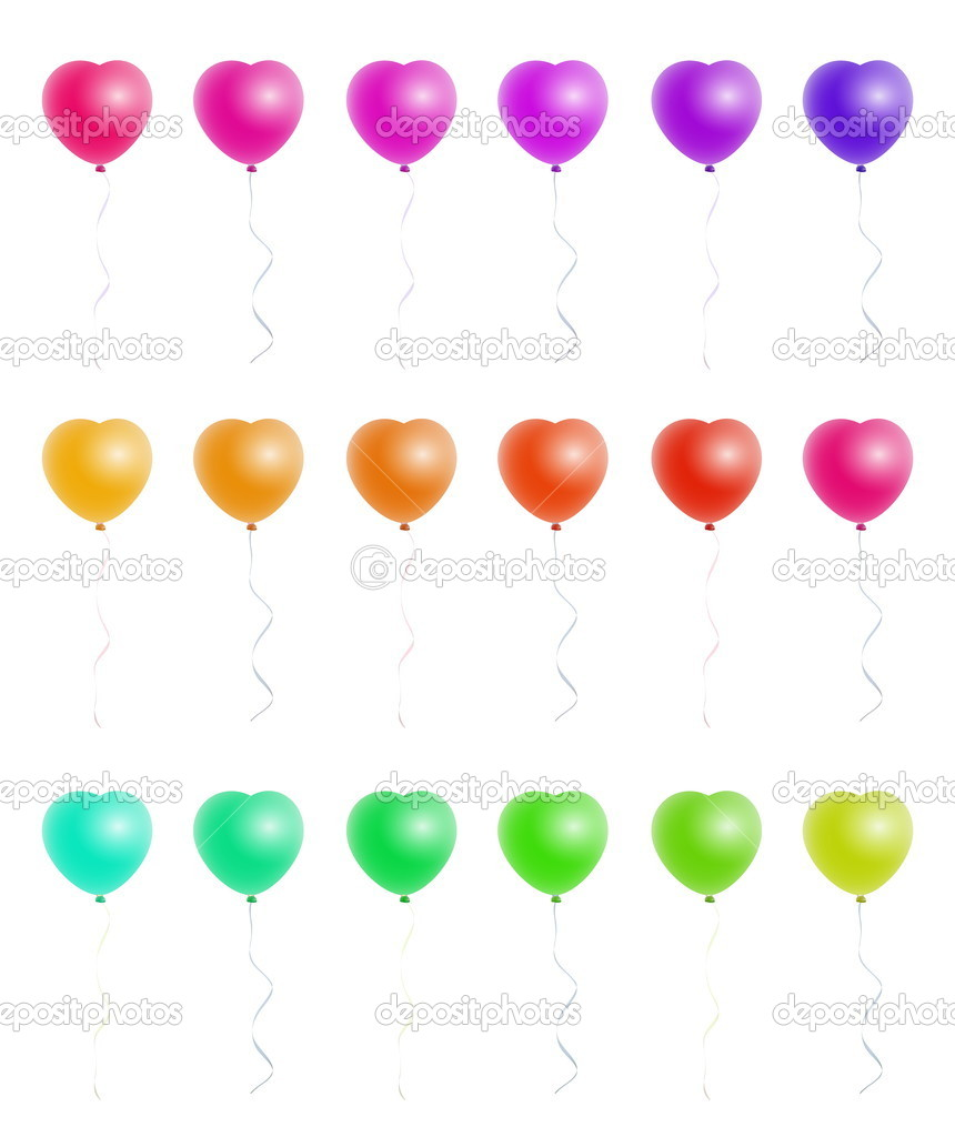 A nice set of heart shaped colorful balloons — Stock Vector