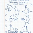A third set of farm animals in doodle style: chickens — Imagen vectorial