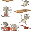 A funny set mice in a cartoon style — Stock vektor