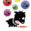 A funny cartoon style sick puppy - Stock Vector