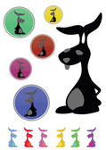 A funny black rabbit silhouette collection — Stockvector