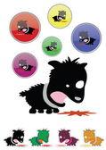 面白い漫画スタイルの病気の子犬 — ストックベクタ