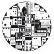 The monochrome town in the  circle - Stock Vector