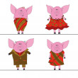 Stock Vector: Four pigs