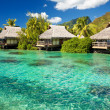 ストック写真: Over water bungalow with steps into amazing lagoon