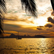 Sunset over Moorea Island seen from Tahiti — Stock Photo