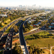 Morning rush hour from above in Brisbane - Stock Photo