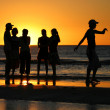 Young talking during sunset — Stock Photo