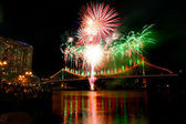 River dance festival fireworks at Brisbane — Stock Photo