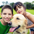 Young boy and girl hugging a golden retriever - Stock Photo