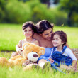 Mother and two daughters playing in grass - Stock Photo