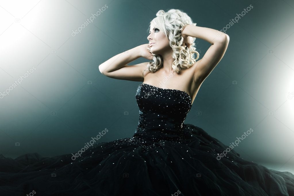 High fashion woman in sexy pose and  large formal dress  Photo #4525766