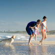 Young family with daughter and dog — Stock Photo