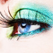 Detail of a blue eye with green eyeshade - Stock Photo