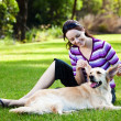 Young woman pulling ears of golden retriever - Stock Photo