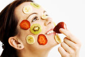 Young Female with Fruit Mask — Stock Photo