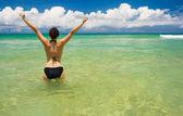 A beautiful woman wearing a bikini on a beach — Stock Photo
