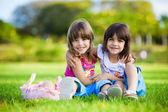 Dwóch młodych uśmiechnięte dziewczyny przytulanie w trawie — Zdjęcie stockowe