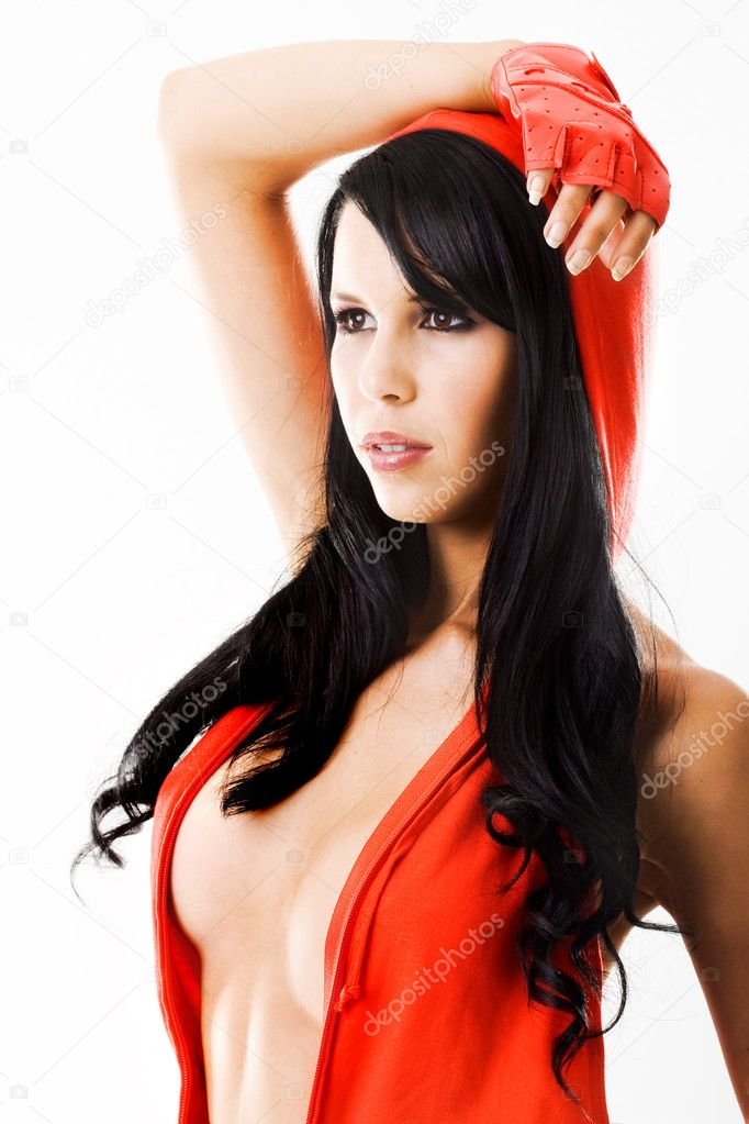 Sexy young lady in red dress with hood — Stock Photo #4728543