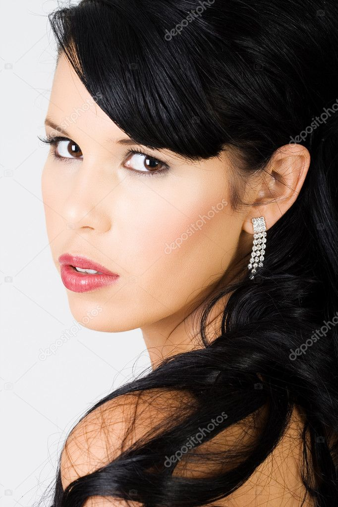 Young beautiful female with large lips wearing makeup — Stock Photo #4728550
