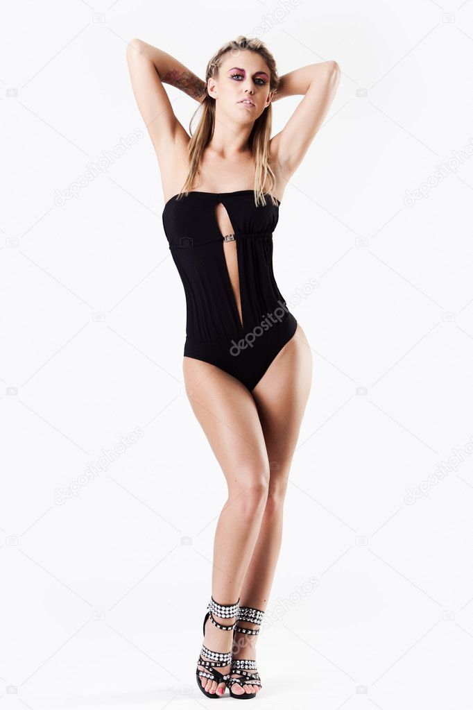 Hot babe in one piece black swimming suite standing — Foto Stock #4728988
