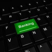 Przycisk zielony bankowości — Zdjęcie stockowe