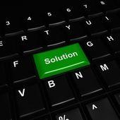 緑の光沢のある解決ボタン — ストック写真