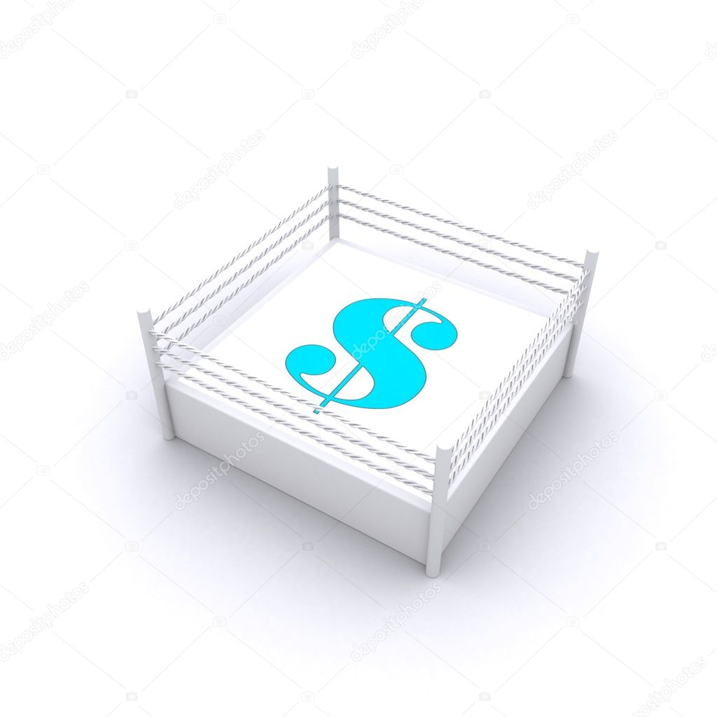 Lovely Concept Of 3d Render Of Dollar Sign In Fight Ring — Stock Photo #5243080