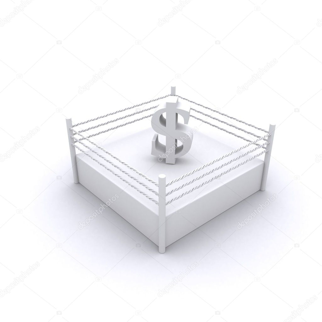 Lovely Concept Of 3d Render Of Dollar Sign In Fight Ring — Stock Photo #5243083