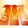 Blur Style Currency Symbol On Arrow — Stock Photo