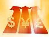 Flou symbole monétaire style sur flèche — Photo