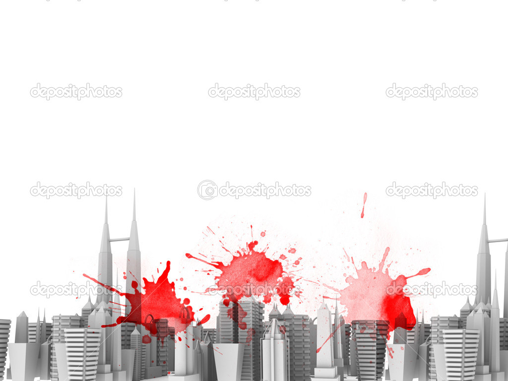 Decorative Style Fashionable Design Colored Splash Skylines — Stock Photo #5267739