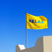 """Yellow flag with a word """"Relax"""" — Stock Photo"""