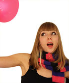Girl plays with a balloon — Stock Photo