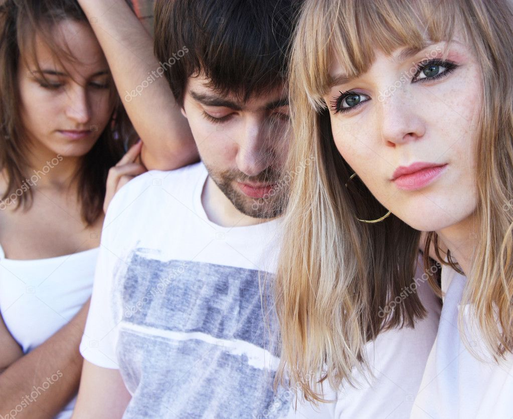  man and two girls, their relations  Stock Photo #4846664