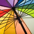Underside of a colorful rainbow umbrella - background — Stock Photo