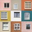 Royalty-Free Stock Photo: Collection of old window on different colored walls