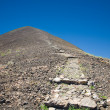 Canary Islands, Isla de Lobos, zigzag path to the top pf extinct volcano La - Stock Photo