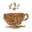 Coffee art - coffee cup made of coffee beans; isolated on white background; — Stock Photo #4554363